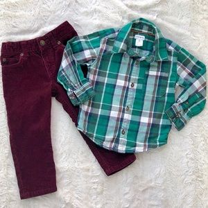 Carter's plaid shirt and corduroy pants outfit 2T